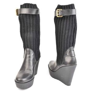 459ac7c6626 GUCCI: Black, Leather & Logo, Knit Mid-Calf Boots
